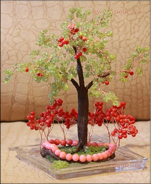 Дерево счастья из коралла и хризопраза