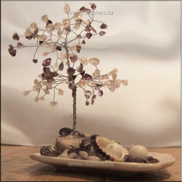 Дерево счастья из аметиста и розового кварца