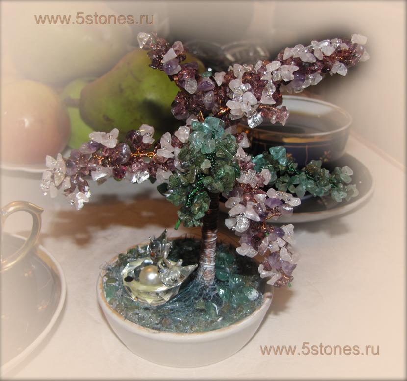Дерево счастья из аметиста и флюорита