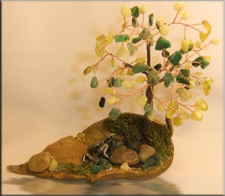 Дерево счастья из везувиана, цитрина и зеленого кварца
